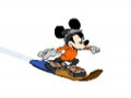 Mickey Mouse na snowboard